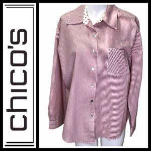 Chico's Red And White Striped button down …